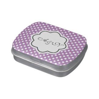Lata púrpura y blanca del monograma de los lunares jarrones de dulces