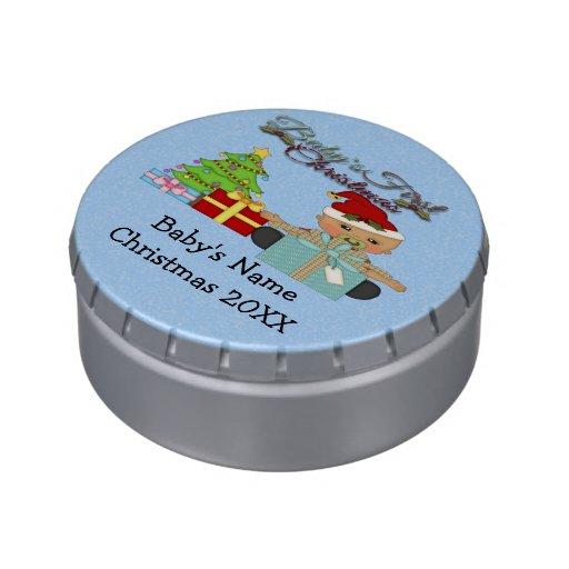 Lata redonda gigante del caramelo del 1r navidad d jarrones de caramelos