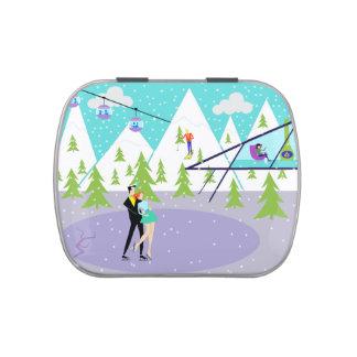 Lata retra del caramelo de la estación de esquí frascos de dulces