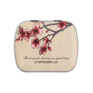 Lata roja del caramelo de las flores de cerezo del frascos de caramelos