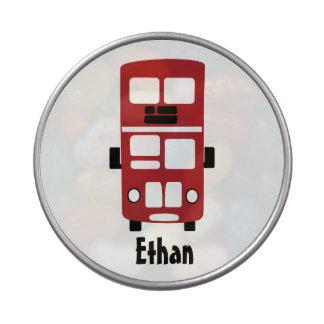 Lata roja del caramelo del autobús del autobús de latas de caramelos