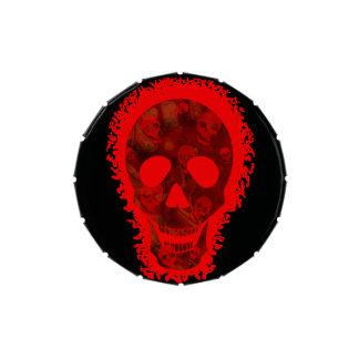 Lata roja del caramelo del cráneo grande jarrones de dulces