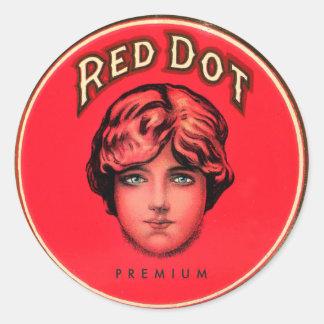 Lata roja del cigarro del punto del vintage de los pegatina redonda