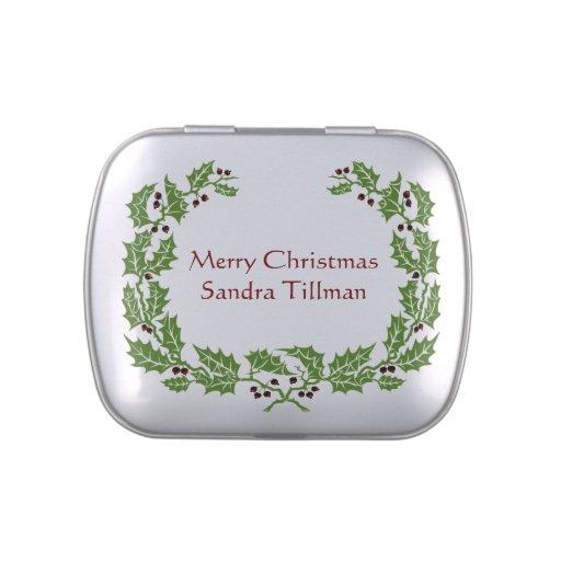 Lata roja y verde del caramelo del navidad del ace