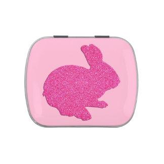 Lata rosada del caramelo del conejito de pascua de frascos de dulces