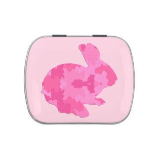 Lata rosada del caramelo del conejito de pascua de jarrones de dulces