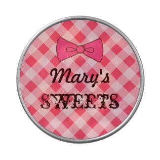 Lata rosada personalizada de la guinga latas de caramelos