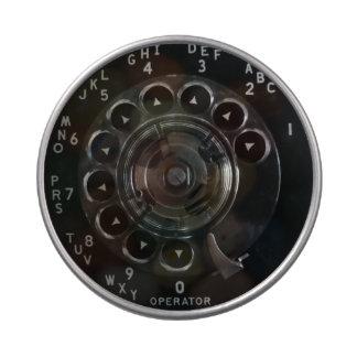 Lata rotatoria del caramelo del teléfono del jarrones de caramelos