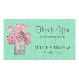 Lata rústica floral en el boda de la arpillera de tarjetas de visita