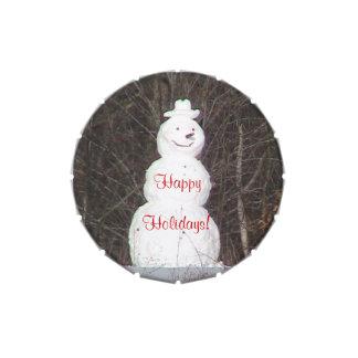 Lata sonriente del caramelo del muñeco de nieve jarrones de dulces