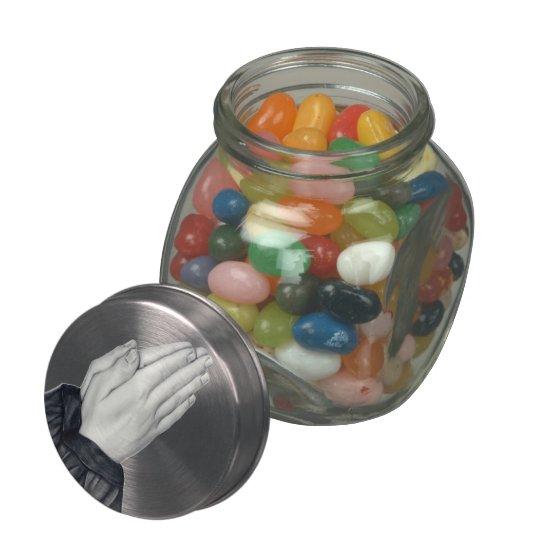Lata/tarro de rogación del caramelo de las manos jarras de cristal jelly bely