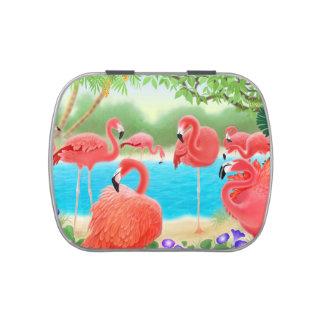 Lata tropical rosada del caramelo de los pájaros d