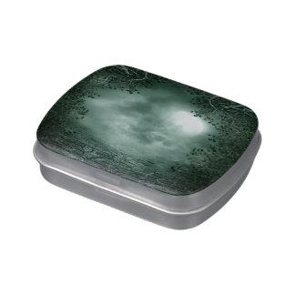 Lata verde mística del caramelo del claro de luna latas de caramelos