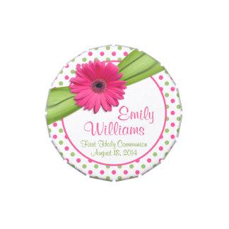 Lata verde rosada del caramelo del lunar de la frascos de dulces