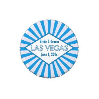 Latas azules del caramelo de la carpa de Las Vegas Frascos De Dulces