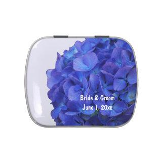 Latas azules del caramelo del boda del Hydrangea Jarrones De Dulces