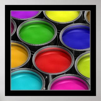Latas coloridas de la pintura - poster