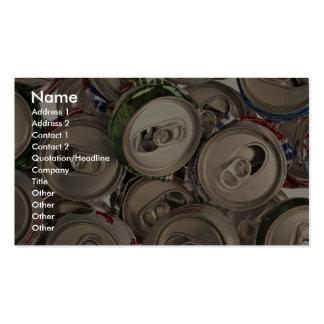 Latas de aluminio, recicladas tarjetas de visita