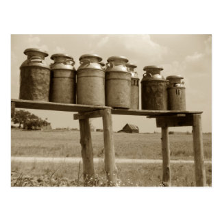 Latas de la leche del vintage postal
