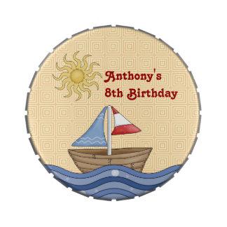 Latas del caramelo del cumpleaños del velero