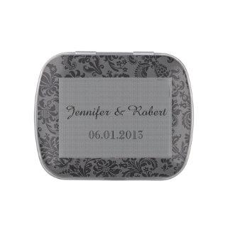 Latas negras y grises del boda del damasco frascos de dulces