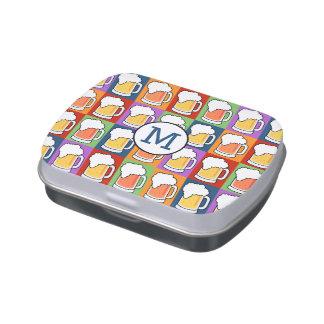 Latas y tarros de encargo del monograma del arte jarrones de caramelos
