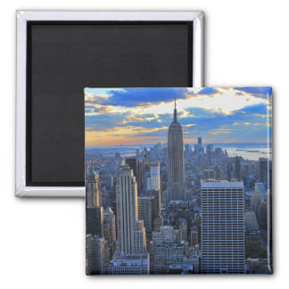 Late afternoon NYC Skyline as sunset approaches 2 Inch Square Magnet