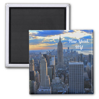 Late afternoon NYC Skyline as sunset approaches #2 Magnet