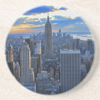 Late afternoon NYC Skyline as sunset approaches Beverage Coasters