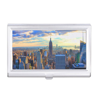 Late afternoon NYC Skyline as sunset approaches Case For Business Cards