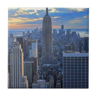 Late afternoon NYC Skyline as sunset approaches Ceramic Tile