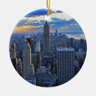 Late afternoon NYC Skyline as sunset approaches Double-Sided Ceramic Round Christmas Ornament