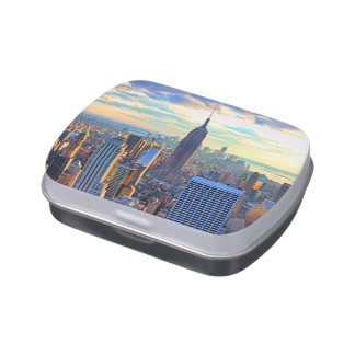 Late afternoon NYC Skyline as sunset approaches Jelly Belly Tin