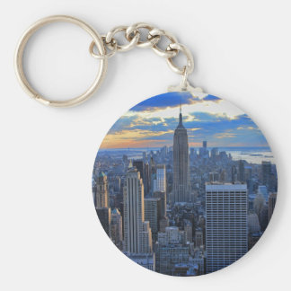 Late afternoon NYC Skyline as sunset approaches Keychain