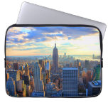 Late afternoon NYC Skyline as sunset approaches Laptop Computer Sleeves
