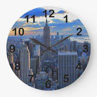 Late afternoon NYC Skyline as sunset approaches Large Clock