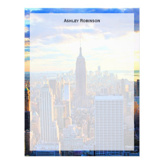 Late afternoon NYC Skyline as sunset approaches Letterhead