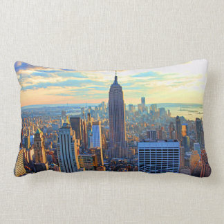 Late afternoon NYC Skyline as sunset approaches Lumbar Pillow