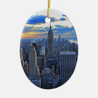 Late afternoon NYC Skyline as sunset approaches O Ceramic Ornament