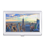 Late afternoon NYC Skyline as sunset approaches Business Card Holder