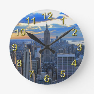 Late afternoon NYC Skyline as sunset approaches Round Wallclock