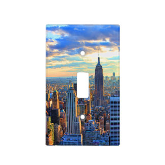 Late afternoon NYC Skyline as sunset approaches Switch Plate Covers