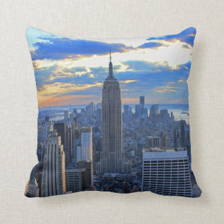 Late afternoon NYC Skyline as sunset approaches Throw Pillow