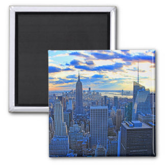 Late afternoon NYC Skyline as sunset approaches W 2 Inch Square Magnet