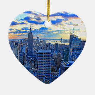 Late afternoon NYC Skyline as sunset approaches W Ceramic Ornament