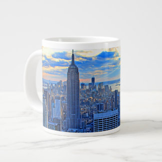 Late afternoon NYC Skyline as sunset approaches W Large Coffee Mug