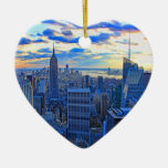 Late afternoon NYC Skyline as sunset approaches W Ornament