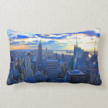 Late afternoon NYC Skyline as sunset approaches W Throw Pillows