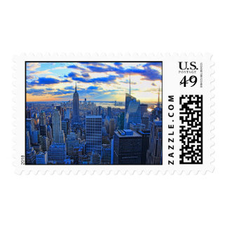 Late afternoon NYC Skyline as sunset approaches W Postage Stamp