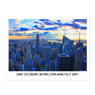 Late afternoon NYC Skyline as sunset approaches W Postcard
